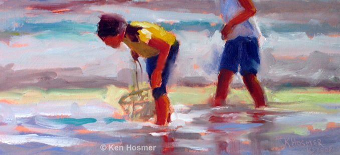 'Beach Combers' oil painting by Ken Hosmer