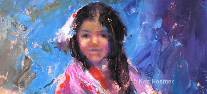 'Ute Girl' oil painting by Ken Hosmer