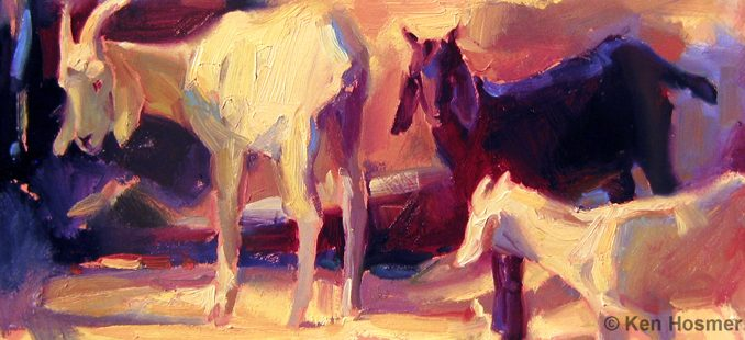 'Goats' oil painting by Ken Hosmer
