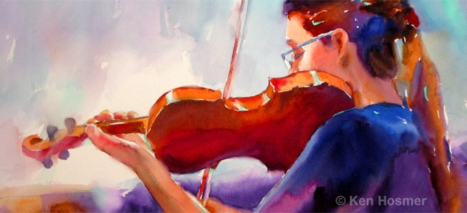 'Violin' watercolor painting by Ken Hosmer