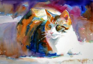 'Calico Cat' watercolor painting by Ken Hosmer