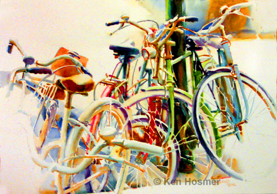 Cycles-watercolor painting by Ken Hosmer