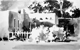 'Adobe' ink sketch from video by Ken Hosmer