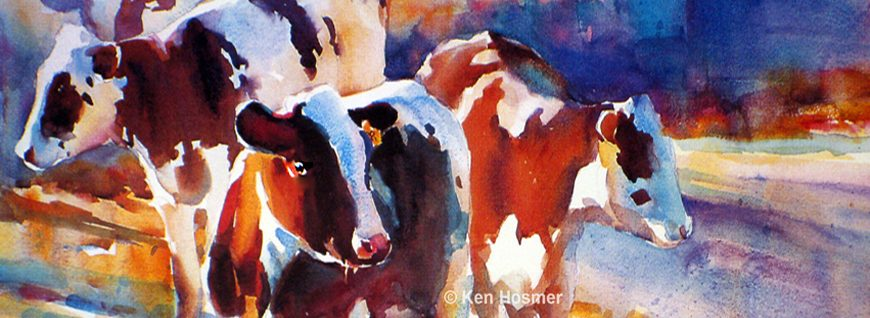 Spring Calves-watercolor by Ken Hosmer