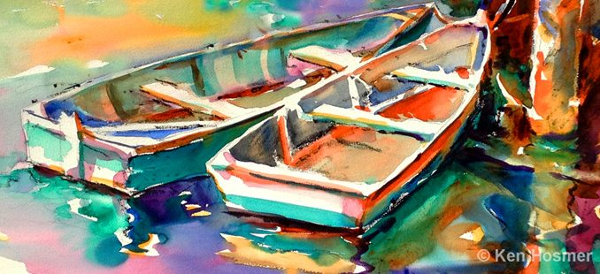 Rowboats-watercolor by Ken Hosmer