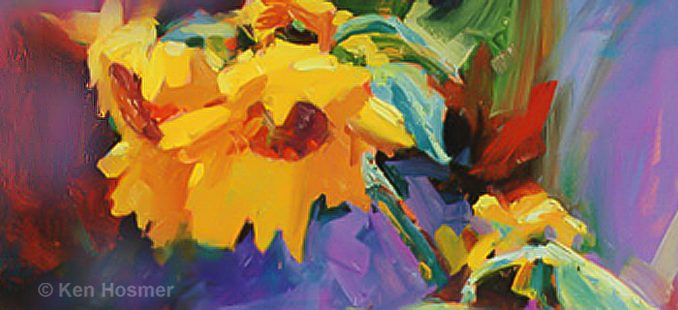 'Sunflower' oil painting by Ken Hosmer
