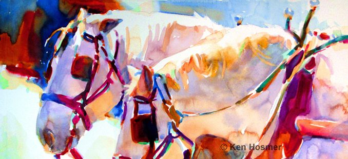 'Dapple Gray' watercolor painting by Ken Hosmer