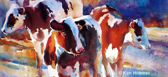 'Spring Calves' watercolor painting by Ken Hosmer