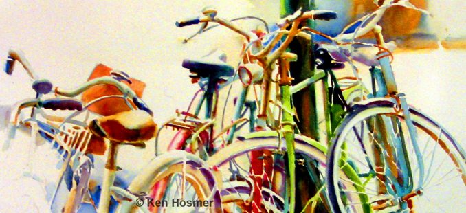 'Cycles' watercolor painting by Ken Hosmer