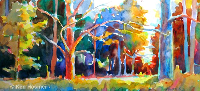 Forest-watercolor painting by Ken Hosmer