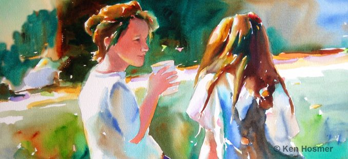 Friends-watercolor painting by Ken Hosmer