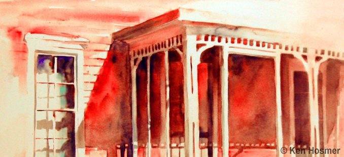Red Porch-watercolor by Ken Hosmer