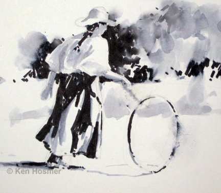 Hoop and Stick - ink sketch by Ken Hosmer