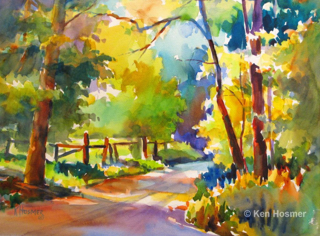 Country Road-watercolor by Ken Hosmer