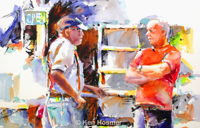 Good Conversation - watercolor by Ken Hosmer