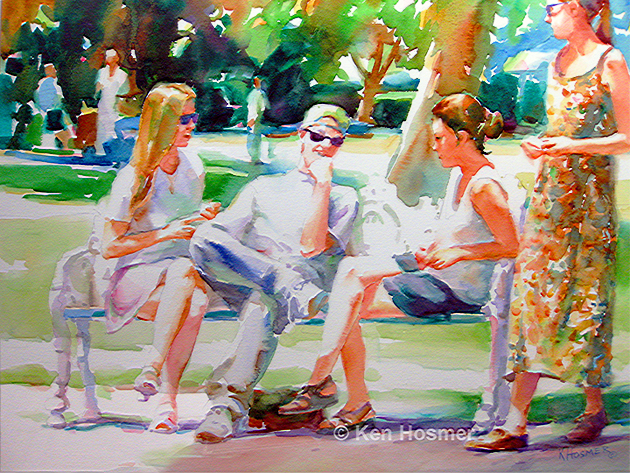 At the Park-watercolor by Ken Hosmer